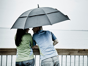A Couple Under an Umbrella