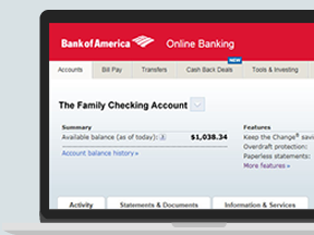 A computer screen showing the features of Online Banking