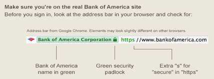 Make sure you're on the real Bank of America site - Browser address bar visual