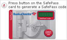 2 Press button on the SafePass card to generate a SafePass code