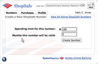Image of ShopSafe number creation screen