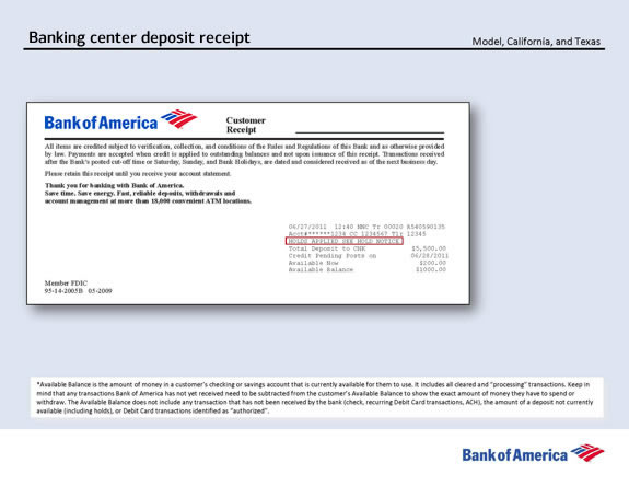 Example of Banking Center deposit receipt information